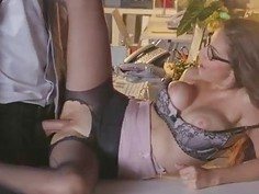 Glamour babe Nina North in glasses boned