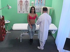 Horny doctor offers prescribes sex to hot patient