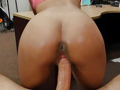 Curvy busty babe pounded by pawn dude