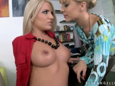 Delectable lesbians Blue Angel and Brittany Spring show what they got