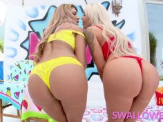 Raunchy FFM scene with two filthy MILFs