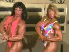 2 Sexy FBB Muscle Women Flexing and Posing