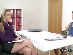 Blond female agent fucks muscular guy in office