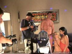 Wicked brazen hussy Sandy shares huge dick in threesome