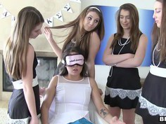 Young snob gals bullying newbie at sorority pledge