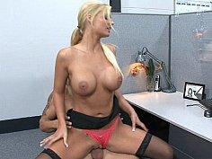 Sexy blonde Phoenix Marie cock rides her coworker