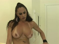 Saucy shemale slut Rabeche gets a proper rimjob before getting screwed hard in her asshole