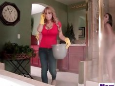 Big titted MILF stepmom and her teen stepdaughter caught in threesome