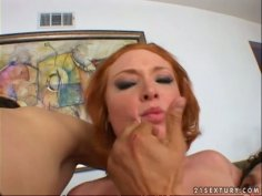 Torrid red head Vixen Vogel experiences a stout double cock penetration