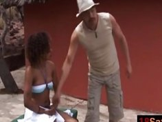 Rough bondage and interracial fucking with busty African slut
