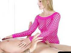 Blonde masseuse blowjobs hard man meat under the table