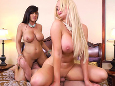 Lisa Ann and Nikki Benz riding his cock and face in threesome