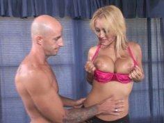 Fuckable porn star Trina Michaels blowjobs and tit fucks