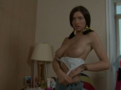 Bosomy brunette Tessa lifts her skirt up and takes off her bra