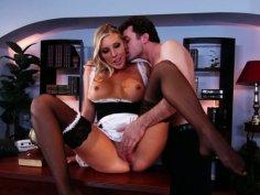Horny maid Samantha Saint plays with dildo and pleases a cock