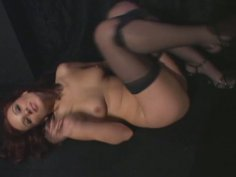 Slender red-haired babe Dani Woodward foot jobs hard dick