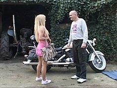 Biker beauty double-teamed