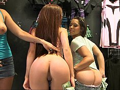 Sexy shoppers flaunt their juicy butts