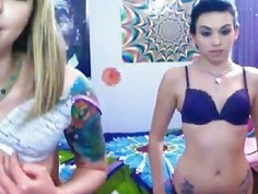 Nerd emo girls in a sexy webcam light saber strip show