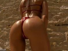 Bikini sex, including painful outdoor D.P.
