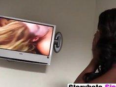 A big tit ebony babe Jezabel blows big white dick in a gloryhole room