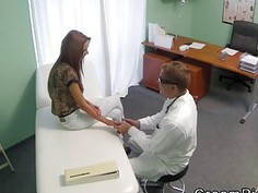 Sexy patient gets cunt creampie in fake hospital