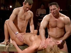 Cute serf acquires a group punishment for her twat