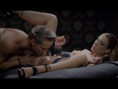 Tied up lady receives pussy licking and super hard pounding