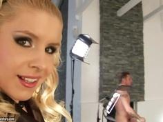 Group interracial sex with busty American pornstar Debbie White