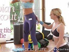 Busty lesbian cutie getting workout