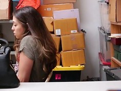 Repeat offender teen shoplifter fucks in the office