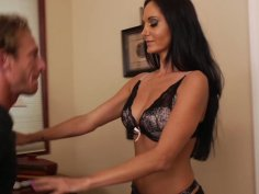 Brunette hottie Ava Addams demostrates her new lingerie making her boyfriend hard