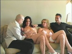 Two skanky girls Brooke Banner and Ava Ramon suck two dicks starting awesome group sex