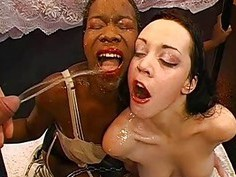 Man is feeding jizz flow into babes lusty mouths
