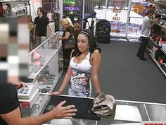 Big tits latina gives head and pounded by pawn keeper