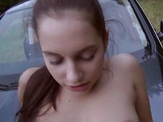 Czech girl Jenny Dark fucked in public