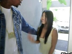 Excited Asian Girl Cindy Inhales Massive Black Cock