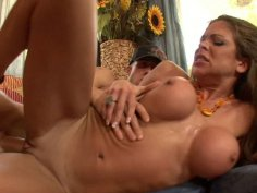 Juicy Hunter Bryce performing deepthroat sucking and getting hammered from behind